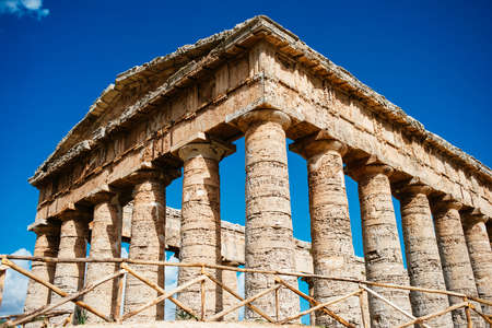 segesta: View of ancient doric greek temple in Segesta, Sicily, Italy. Stock Photo
