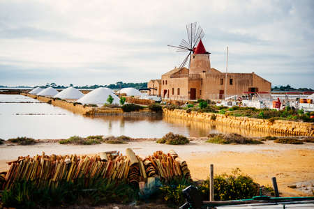 Salt mills are seen in saburbs of Marsala, Sicily, Italy.