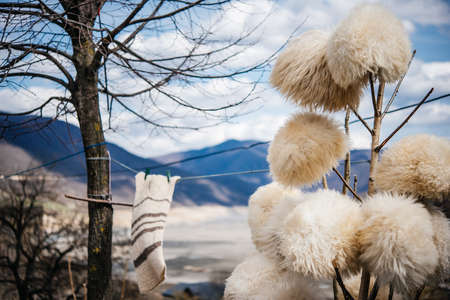 papakha: Traditional Georgian fur hats and coats made of sheep wool in Georgia, Caucasus