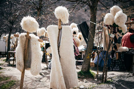 papakha: Traditional Georgian fur hats and coats made of sheep wool in Georgia, Caucasus