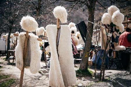Traditional Georgian fur hats and coats made of sheep wool in Georgia, Caucasus