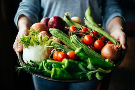 Mani in possesso di grande piatto con diverse verdure fresche di fattoria. raccolto in autunno e sano concetto di cibo biologico Archivio Fotografico