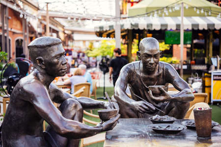 riverfront: BANGKOK, THAILAND - MARCH 4, 2016: Monument to dining workers at Asiatique The Riverfront - one of the hipster clusters and lifestyle shopping zones of Bangkok, Thailand. Editorial