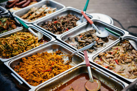 Different thai street food on sale at one of the markets at Koh Samui, Thailand