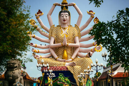 Statue of Shiva in Wat Plai Laem Temple on Koh Samui island in Thailand