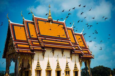 koh samui: Buddhist pagoda, part of temple complex Wat Plai Laem on Koh Samui island, Thailand