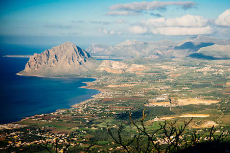 erice: Panoramic view of Sicily mediterranean coast seen from Erice mountain in Sicily, Italy. Stock Photo
