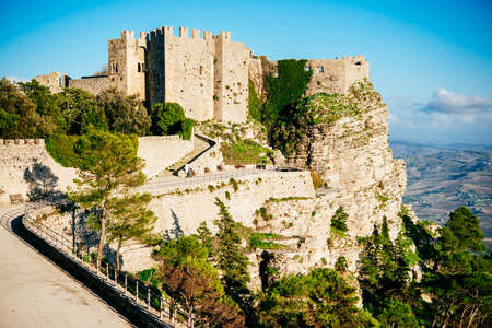 erice: View of ancient  in the Venus Castle in the village of Erice, Sicily, Italy. Editorial