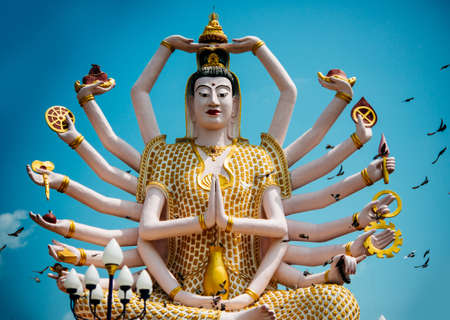 spiritual architecture: Statue of Shiva in Wat Plai Laem Temple on Koh Samui island in Thailand