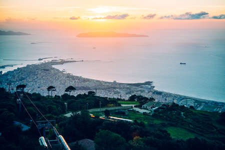 erice: Panoramic sunset view of Trapani seen from Erice mountain in Sicily, Italy.