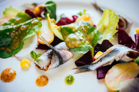 close up food: Fresh salad with mackerel, herbs and potatoes served on a plate