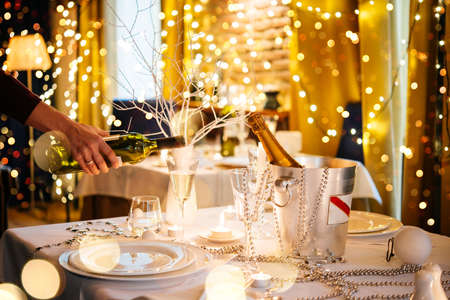 Christmas or New Year party table in a restaurant or cafe