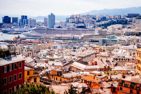 Panoramic view of old city and port of Genoa, Liguria region, Italy.