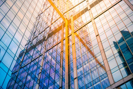 Glass wall of modern skyscraper building. Success, business and development concept or background 스톡 콘텐츠