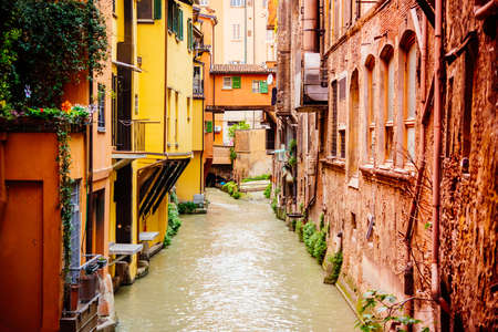 View of the canal in the old city of Bologna, Emilia Romagna region, Italy.
