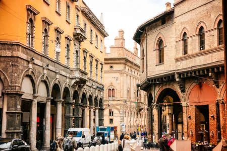 center city: Street view in the old city of Bologna, Emilia Romagna region, Italy.