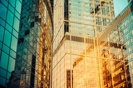 Glass Wall Of Modern Skyscraper Building. Success, Business And ...
