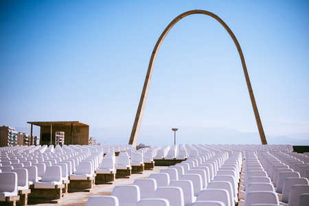 View of International Fair of Tripoli architected by Oscar Niemeyer in Tripoli, Lebanon.