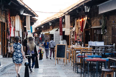 View of the souvenir shops in the old town of Byblos, Lebanon. Stock fotó - 83839205