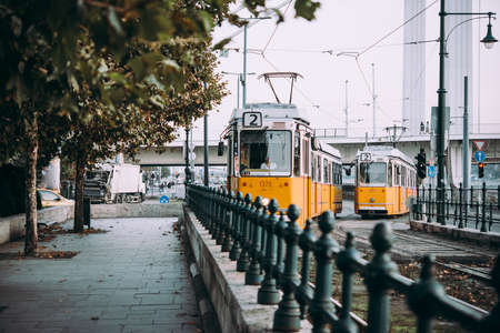 View of trams in the streets of Budapest, Hungary.