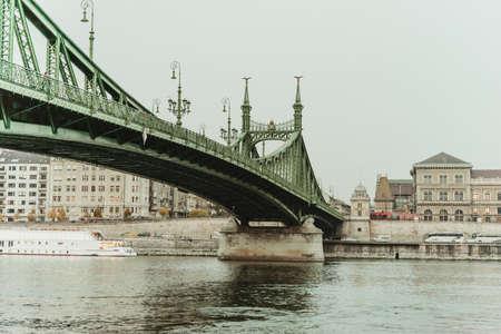 부다페스트, 헝가리에서 자유의여 신상 다리의 전망.