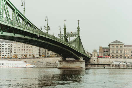 View of Liberty bridge in Budapest, Hungary.