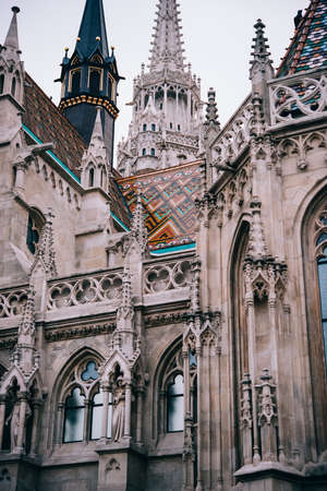 Details of St. Matthias Church in Budapest, Hungary. Reklamní fotografie - 83839214