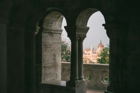 View of Hungarian Parliament building from the Castle hill in Budapest, Hungary.