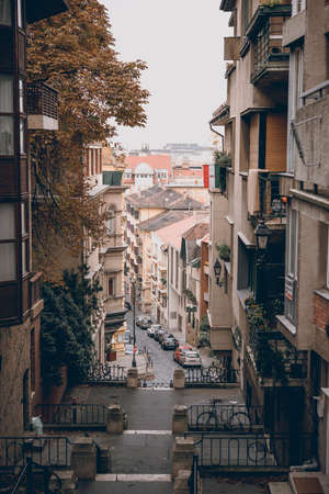 View of one of the streets in Budapest, Hungary. Reklamní fotografie - 83839215