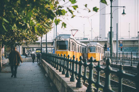 View of trams in the streets of Budapest, Hungary. Toned picture Editorial