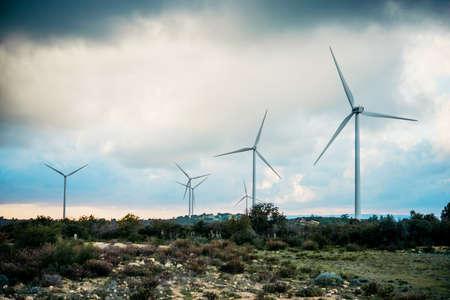 風車の電気発電所のビュー
