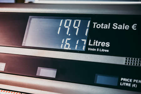 Modern fuel station showing counter with fuel price. Stock Photo