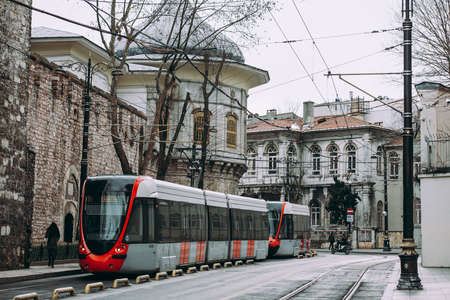 Tram seen at one of the streets in Sultanahmet, Istanbul, Turkey.
