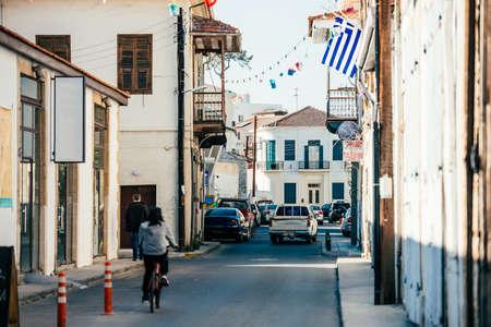 Limassol, 사이 프 러 스의 거리 중 하나의 전망. 스톡 콘텐츠
