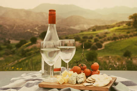 Wine and different appetizers at a picnic in the mountains. Toned picture Archivio Fotografico