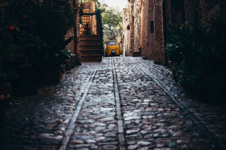 View of the small street in Spello, a small town in Umbria, Italy.