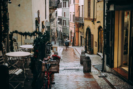 Rainy streetview of Spoleto, a small town in Umbria, Italy.