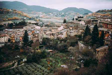 View of Spoleto, a small town in Umbria, Italy.