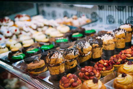 Different types of desserts on sale at a bakery in Naples, Campania, Italy. Stock fotó