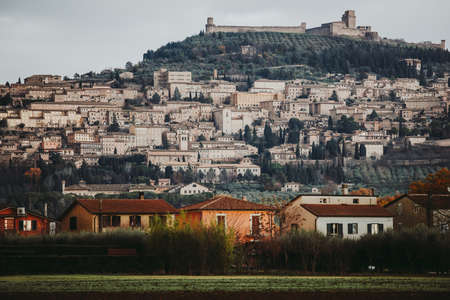 View of Assisi, a small town in Umbria, Italy. Stockfoto