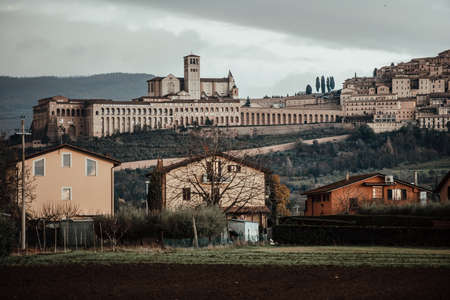 View of Assisi, a small town in Umbria, Italy. Stock Photo
