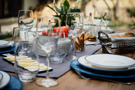 Table served for party dinner in mediterranean style Foto de archivo
