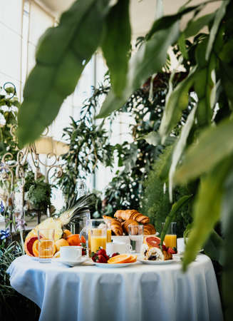 Continental breakfast served in a garden or cafe 스톡 콘텐츠