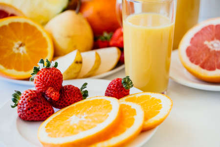 Fresh fruits and orange juice. Healthy diet concept Stock Photo