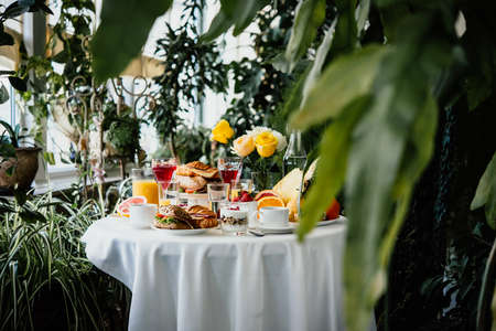 Continental breakfast served in a garden or cafe Reklamní fotografie