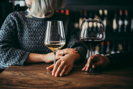 Jonge vrouwen die van hun wijn genieten in een staaf