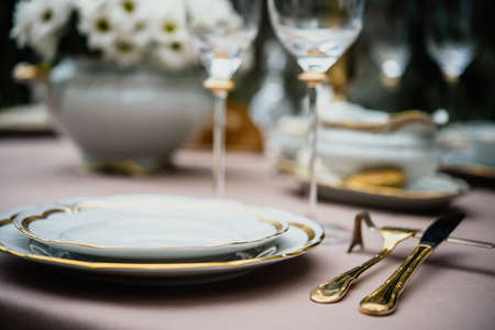 Table served for luxury dinner party