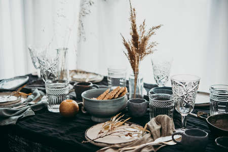 A table served for celebration or wine party.