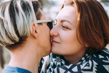 Close-up of lesbian couple kissing Stock Photo