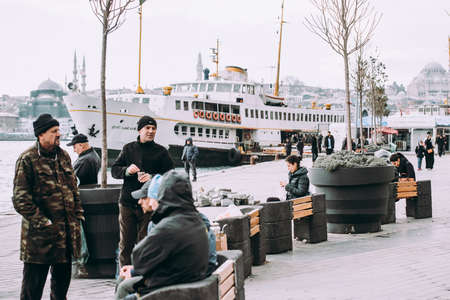 ISTANBUL, TURKEY - 29 JANUARY, 2017: The view of Karaköy pier in Istanbul, Turkey. Redakční